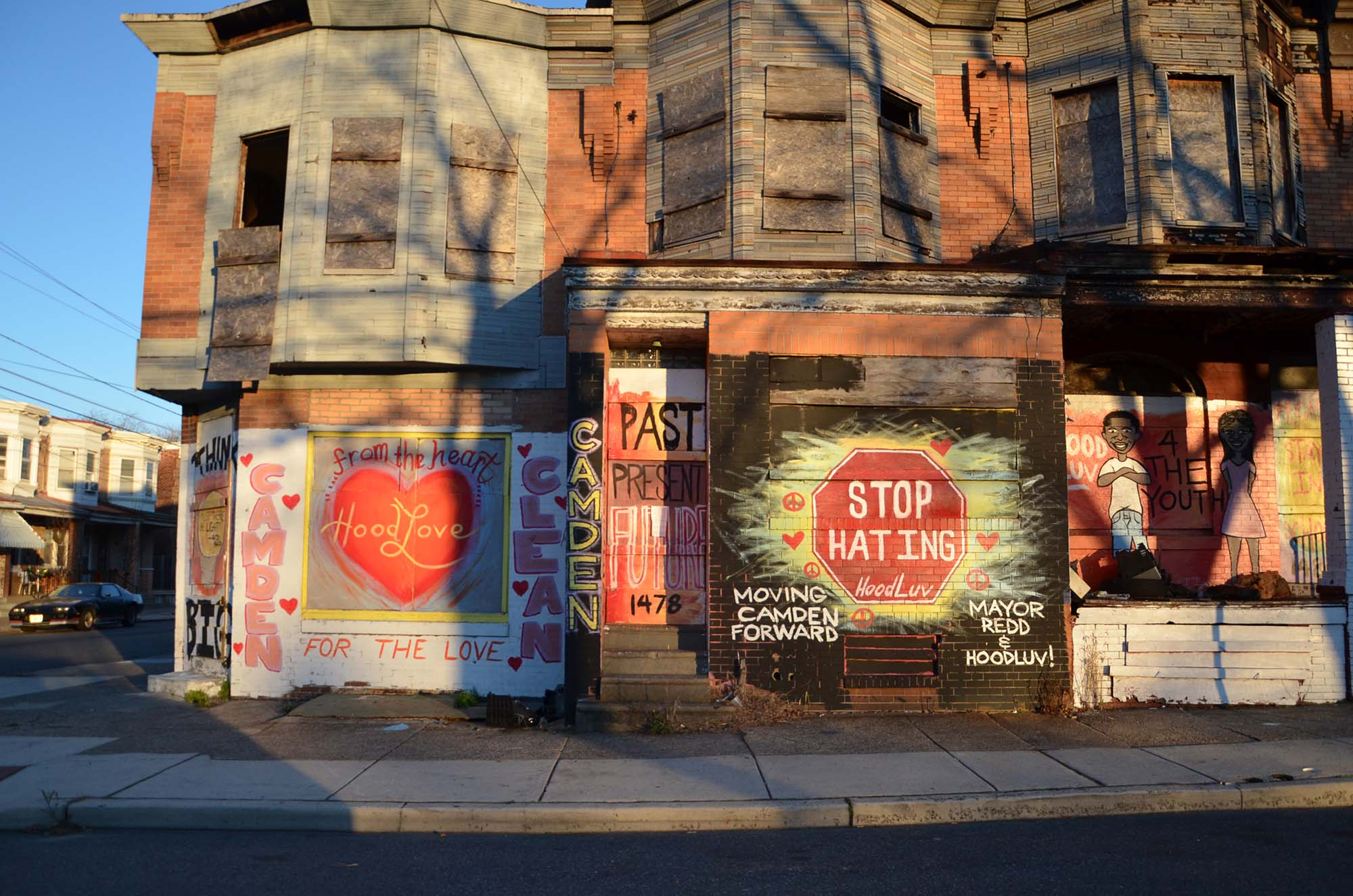 Graffiti on a row of homes