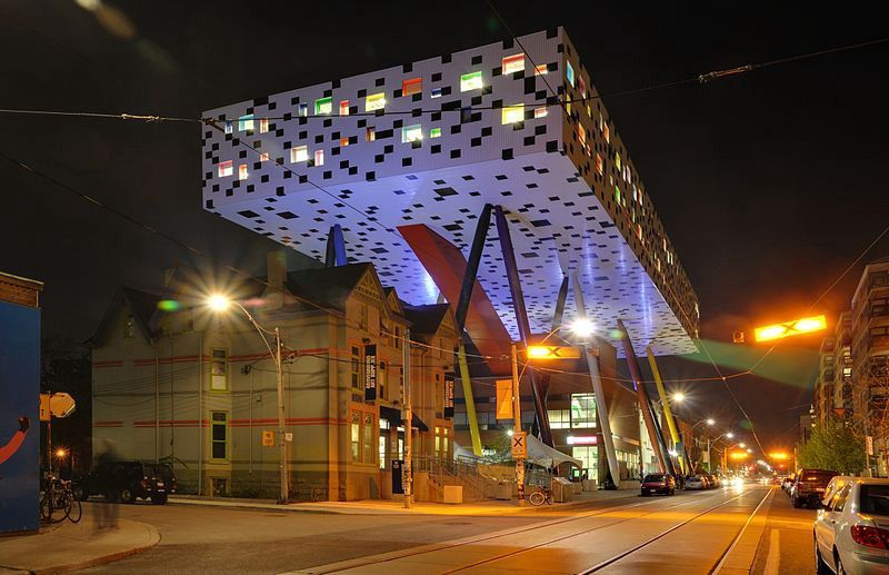 Wide shot of the exterior of the Sharpe Centre for Design at OCAD University