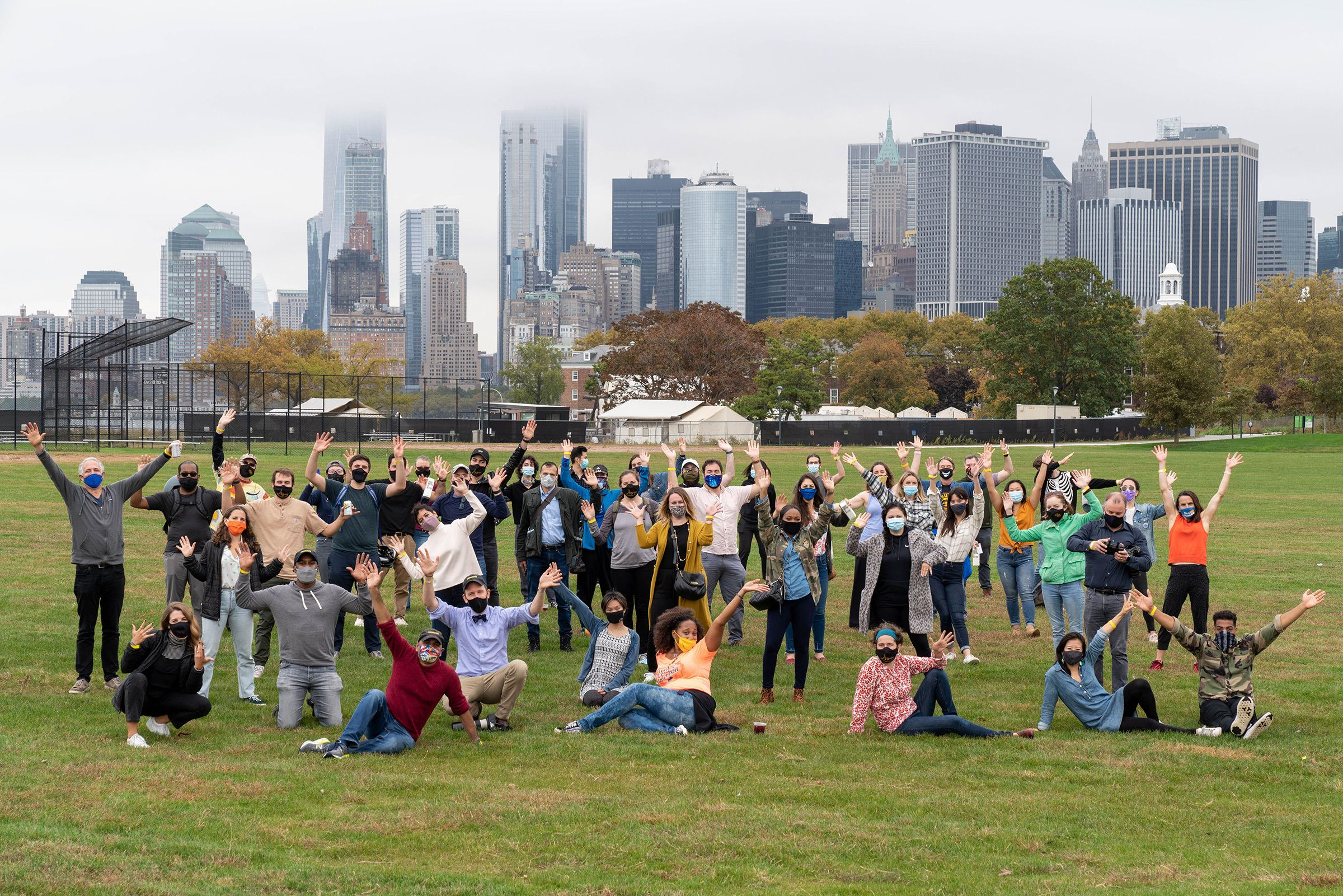 A photo of the Sidewalk Labs team at a park gathering.