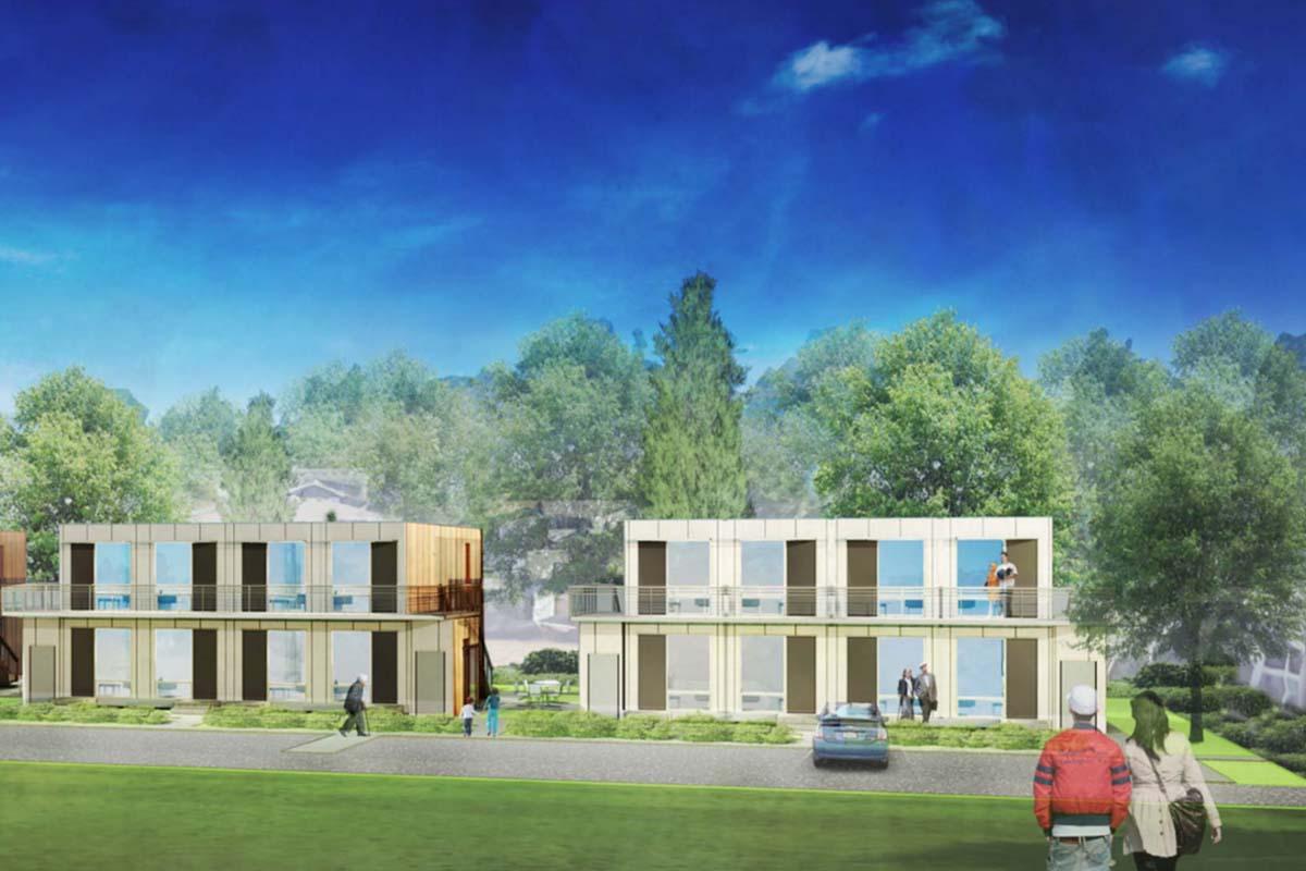 A rendering of a modular housing development in suburban Seattle