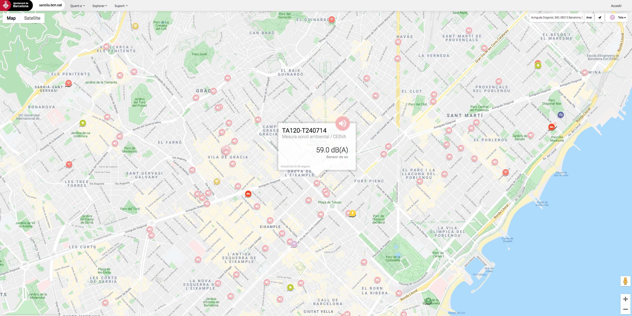 Screenshot of a map of Barcelona