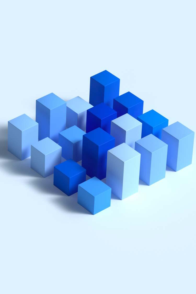 Rendering of blue blocks