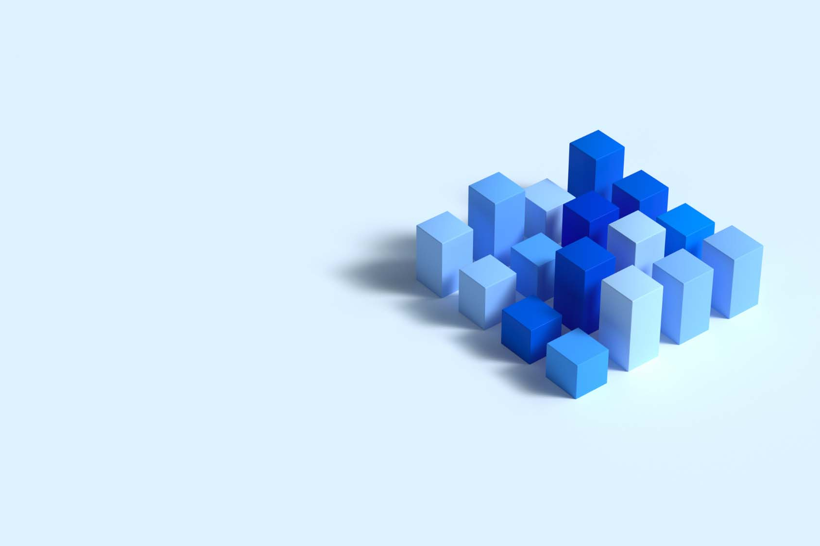 Rendering of blue blocks