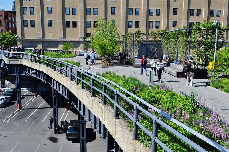 People walking along the High Line in NYC