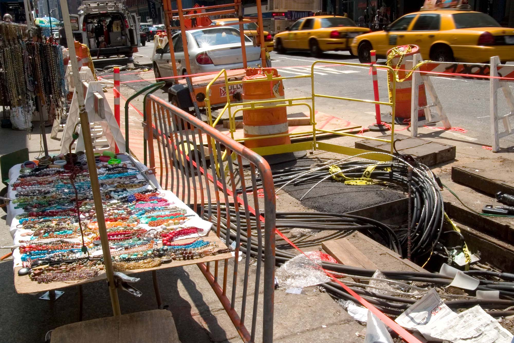 Construction on the sidewalk