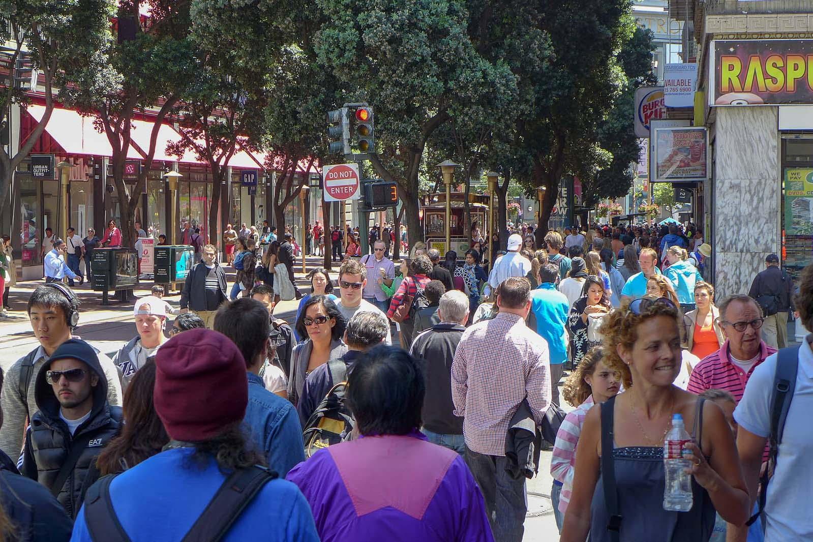 Crowd of pedestrians on a city street