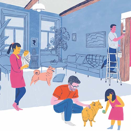 Illustration of a man, woman, two children, two dogs and a painter in a house