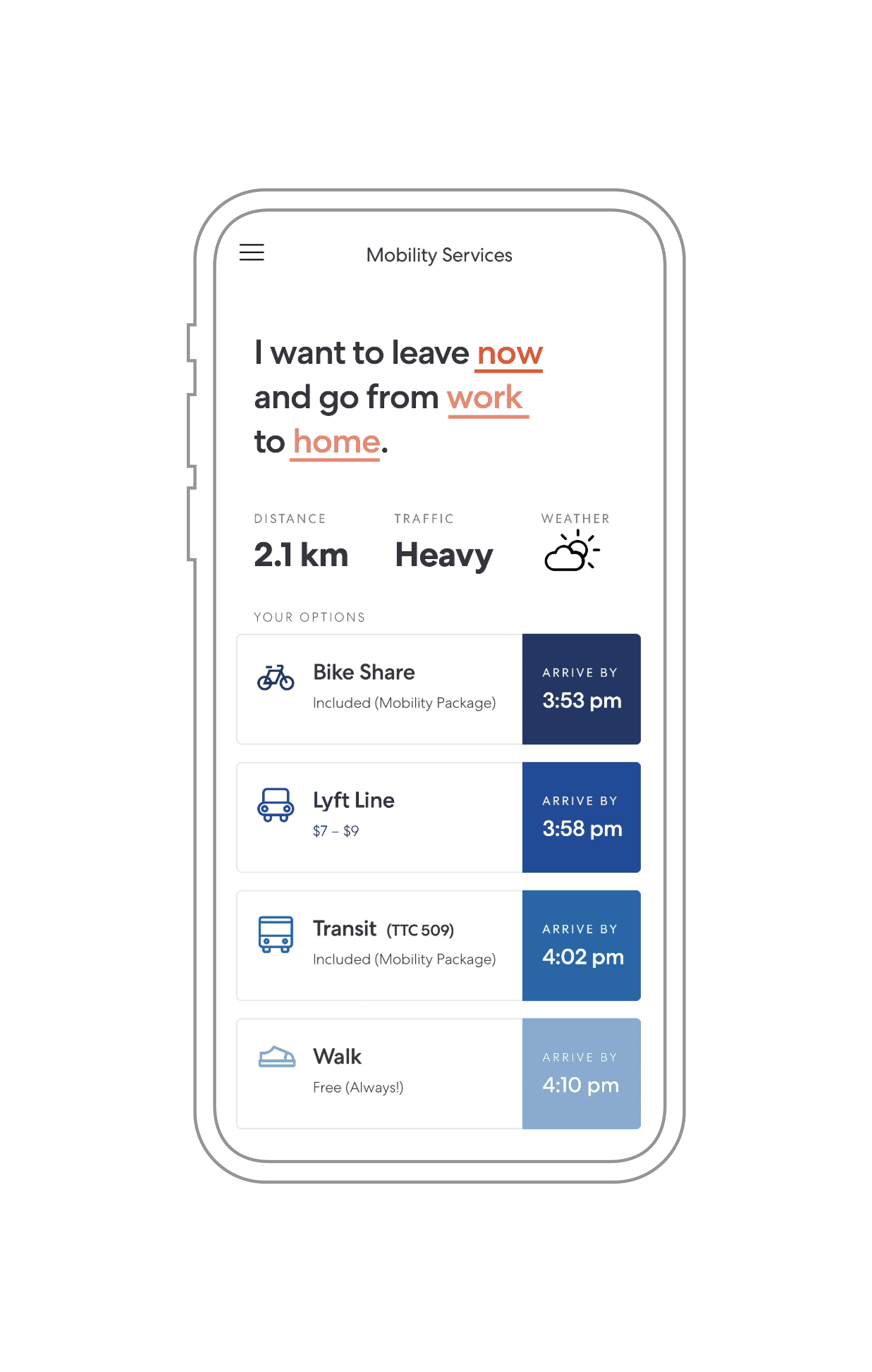 Mockup of a ride planning app