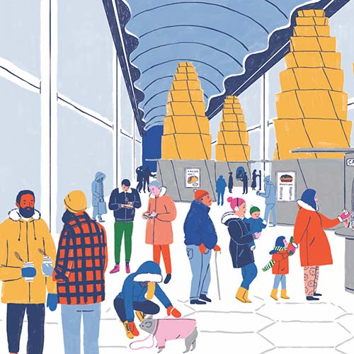 Illustration of people walking on a moveable sidewalk