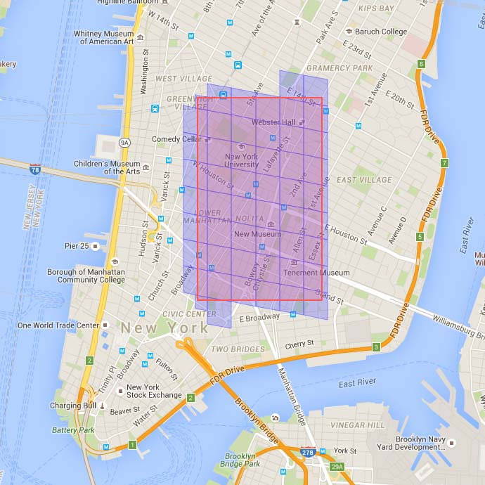 Screen shot of Google map tool built by SWL