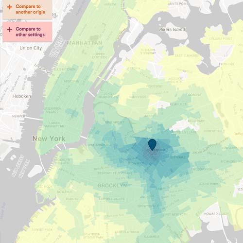 Heat map displaying the impact of the L train shutdown