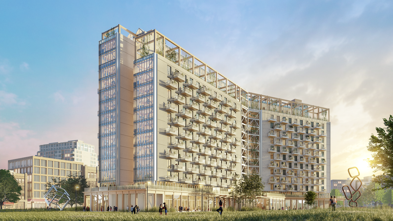 A rendering of the PMX 15 mass timber building model.
