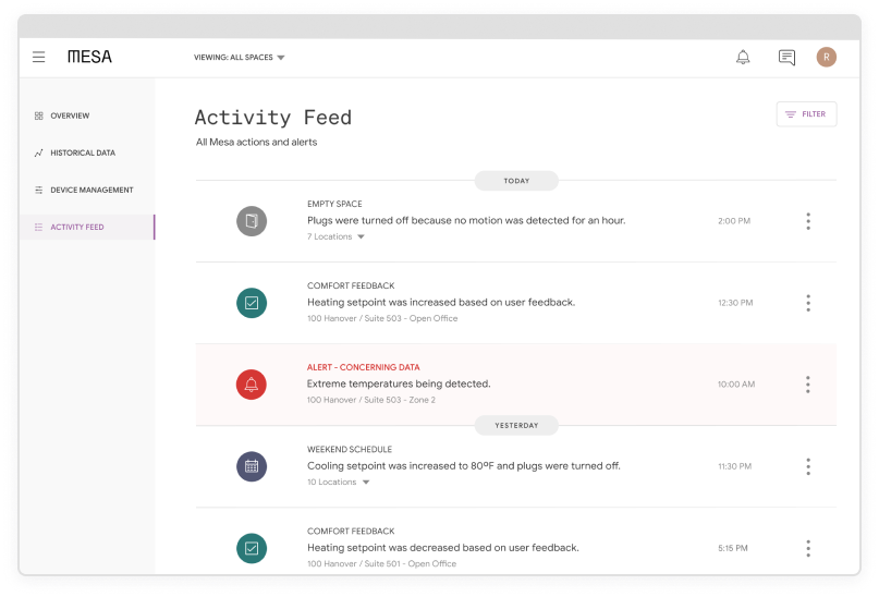 Screenshot of Mesa's activity feed