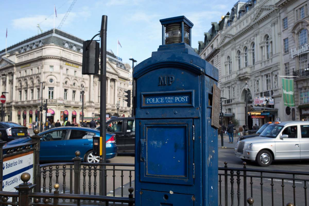 an old police box in London's Piccadilly Circus