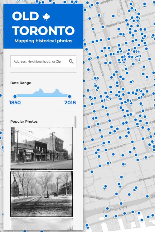 Screenshot of Old Toronto app
