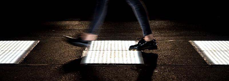 A photo of LED pavement.