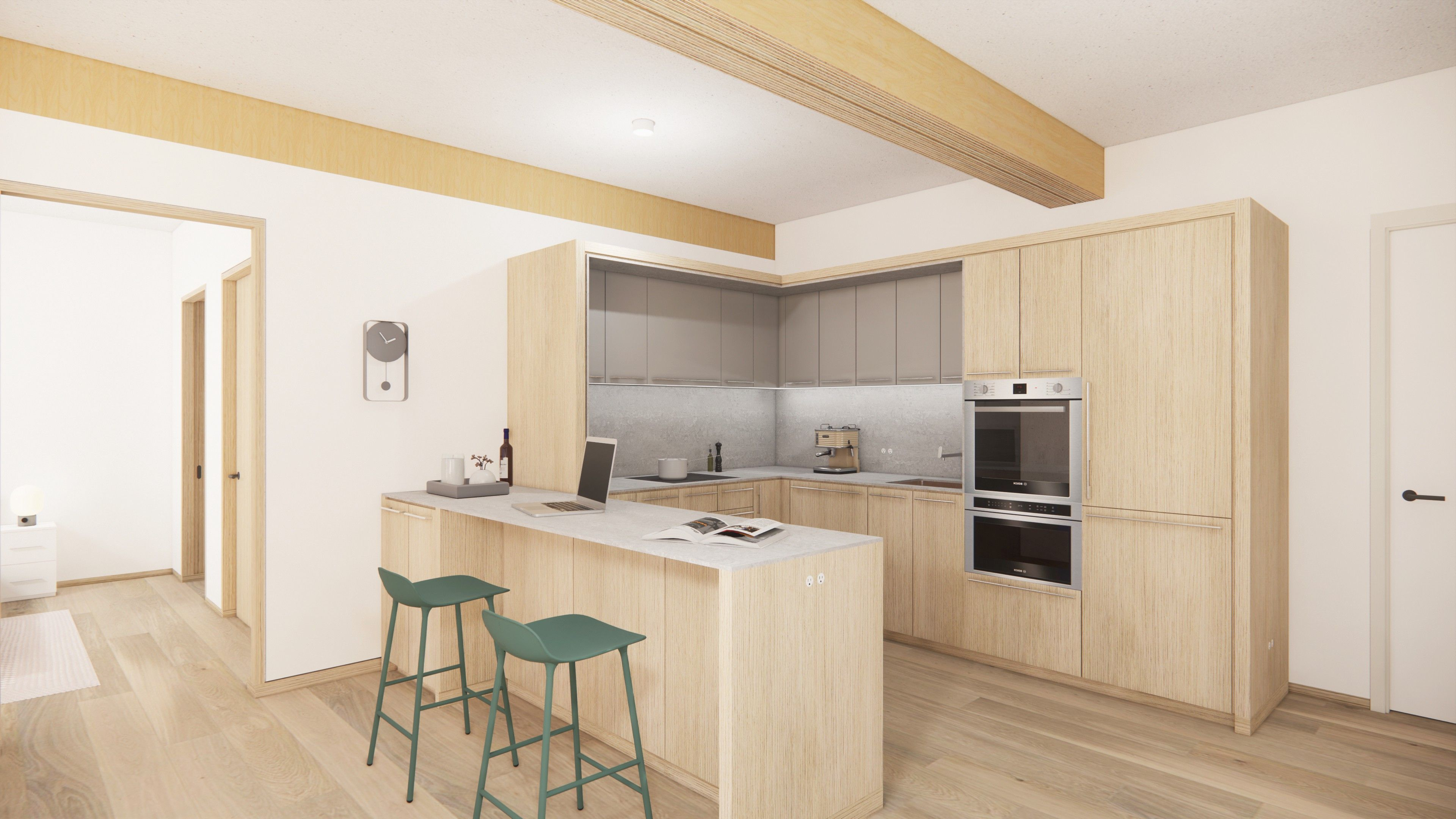 A rendering of a PMX 15 kitchen design