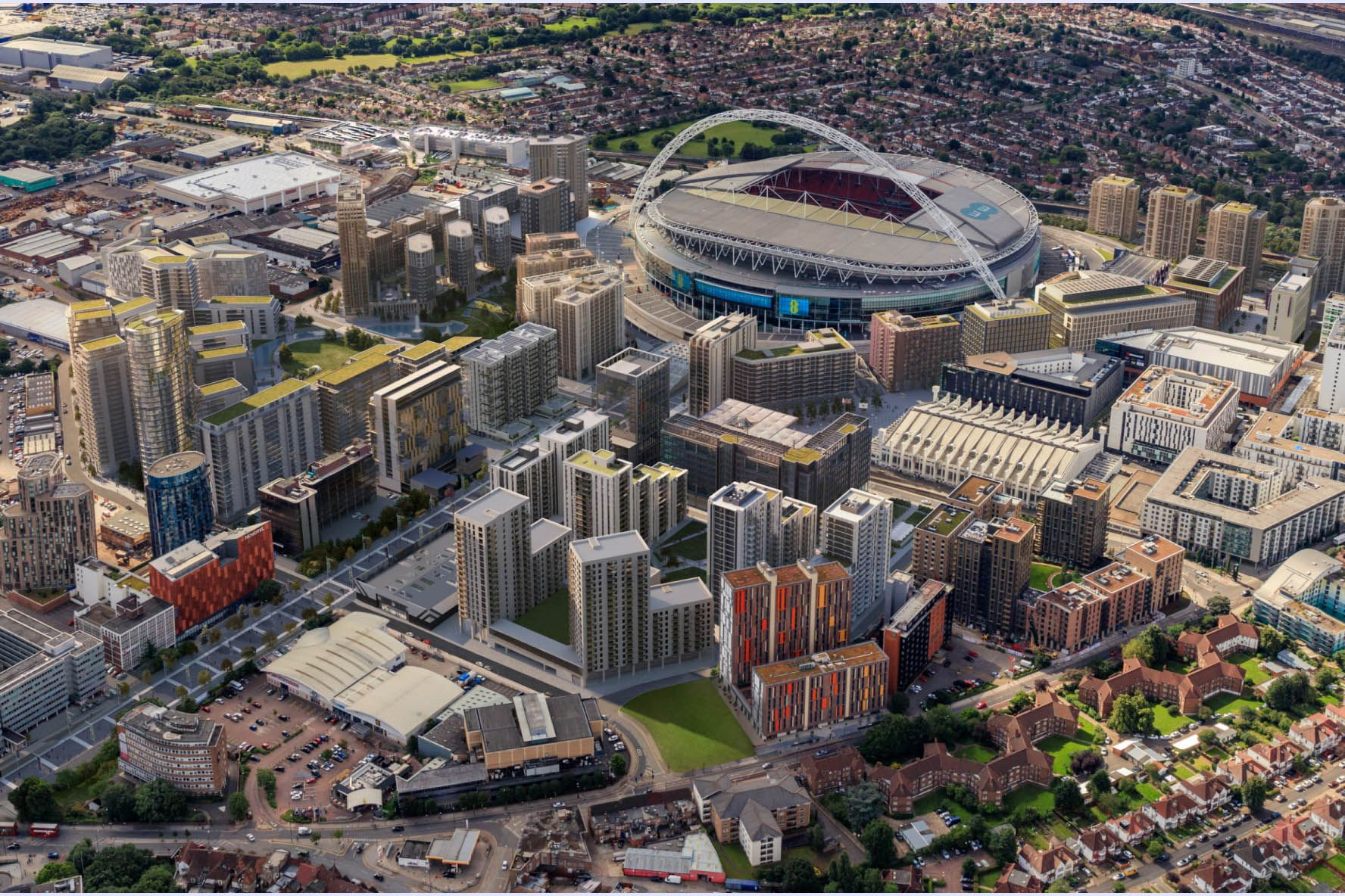 A visual of the Quintain development site for Wembley Park near London