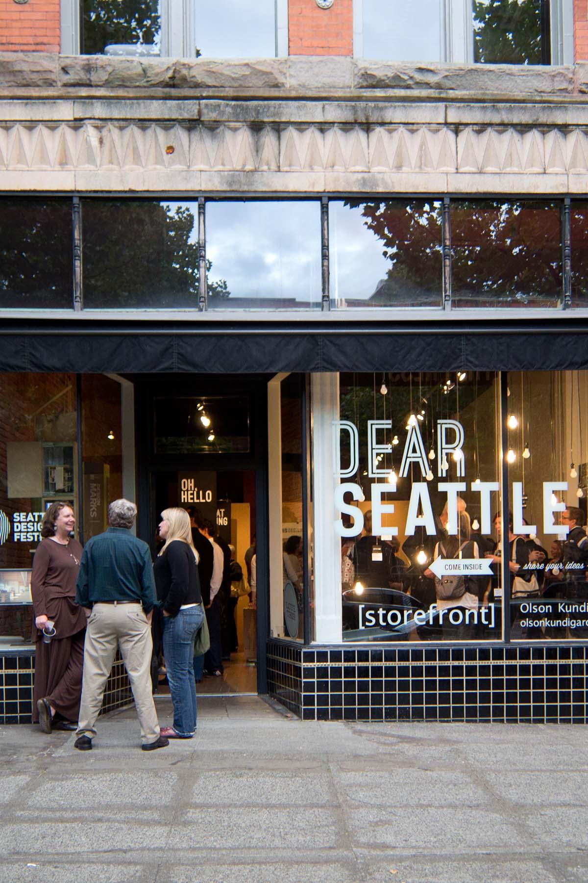 A pop-up store on a sidewalk in Seattle.