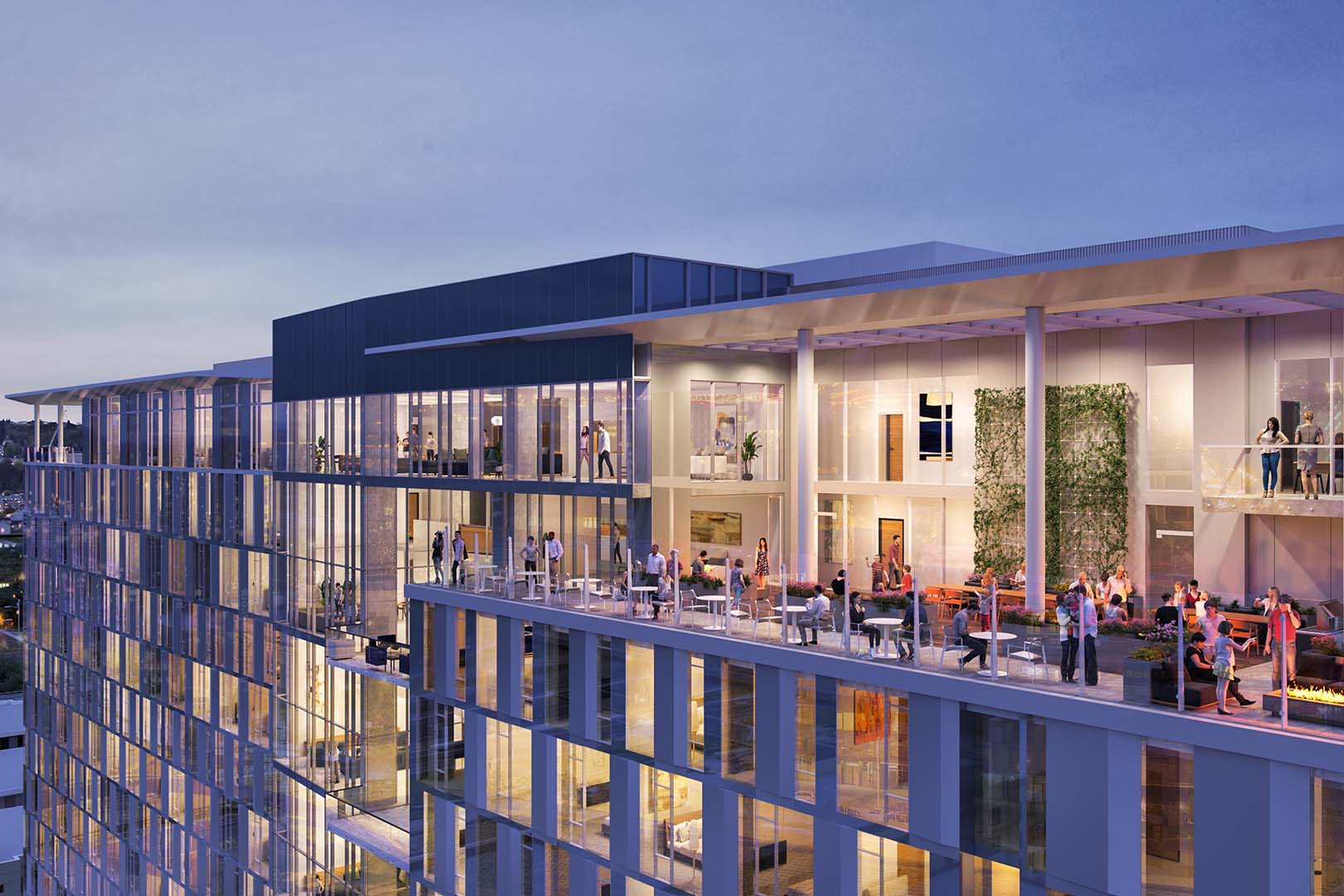 Architectural rendering of the top floors of a glassy condo building. People sit outside on a large patio.