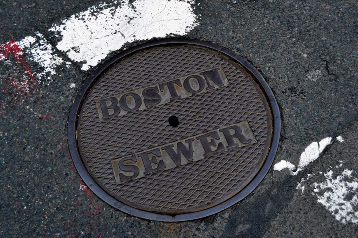 A Boston Sewer manhole cover