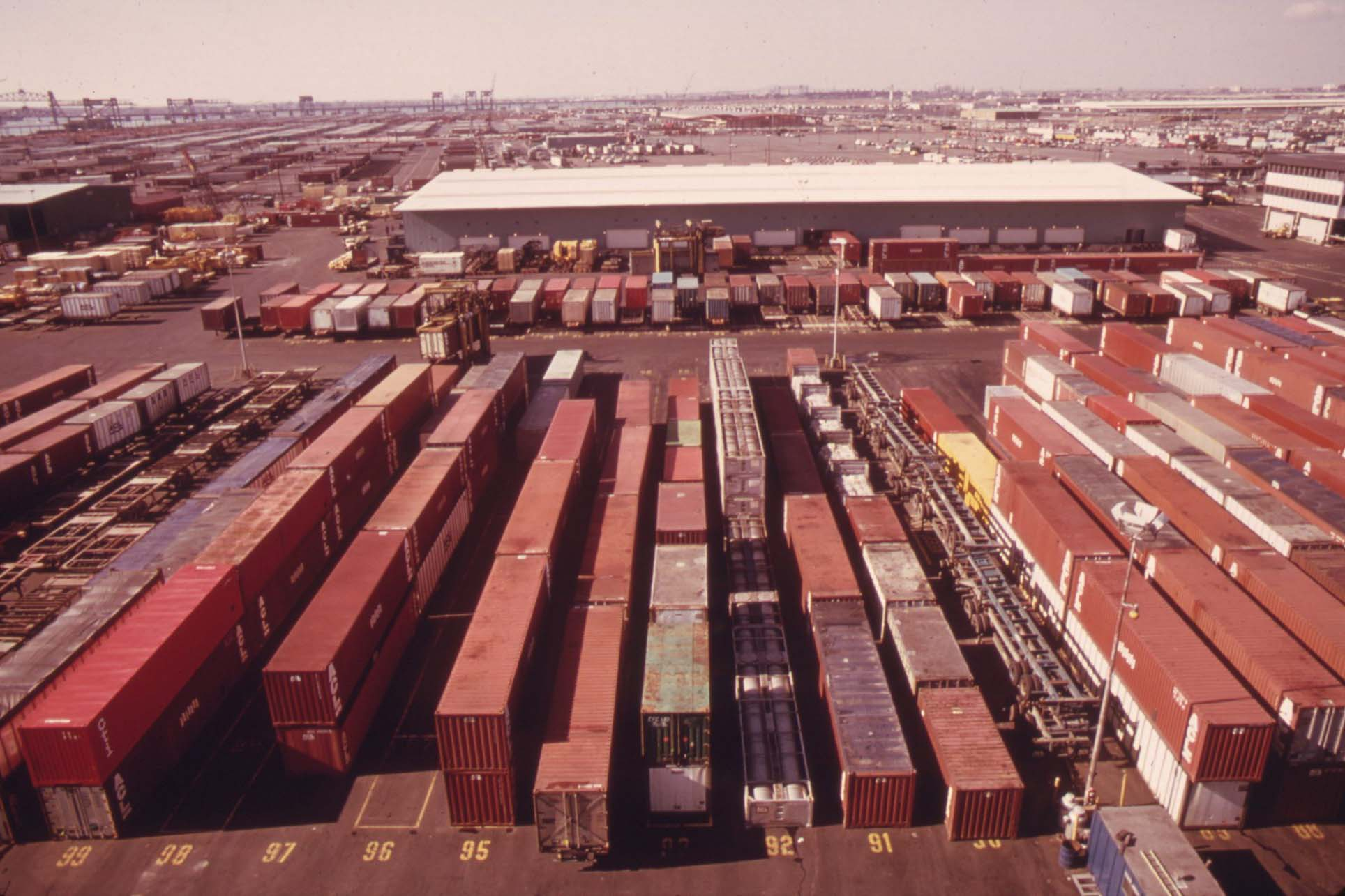 Shipping containers in Port Newark