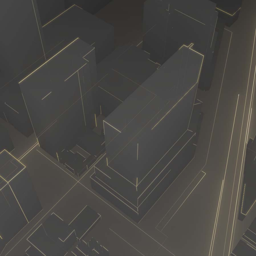 Artistic rendering of buildings from above