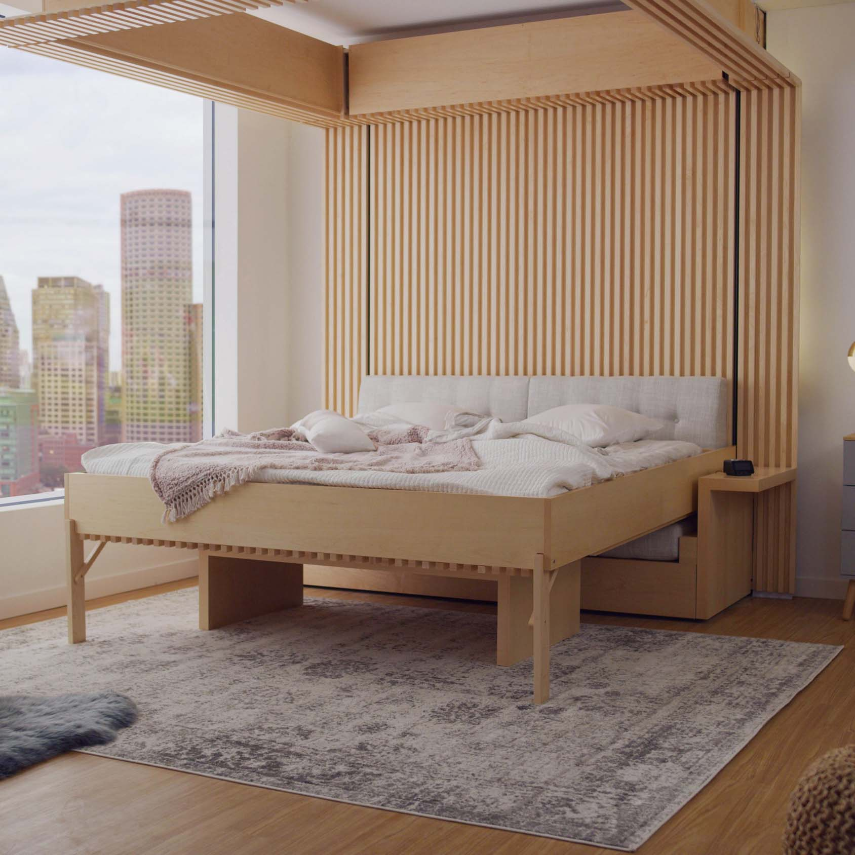 Ori's Cloud Bed inside a beautiful, modern apartment