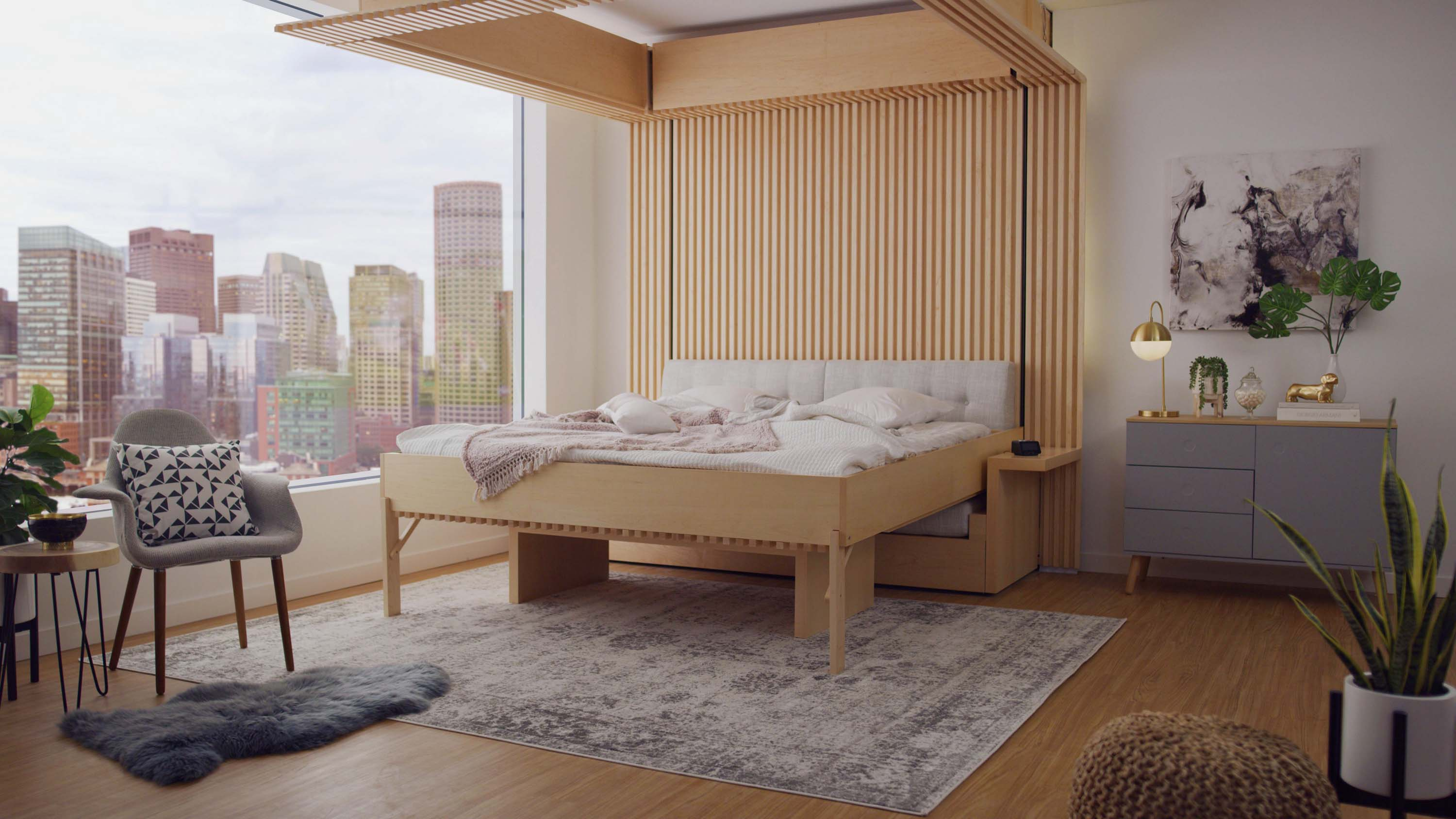 Ori's Cloud Bed inside a beautiful, modern apartment