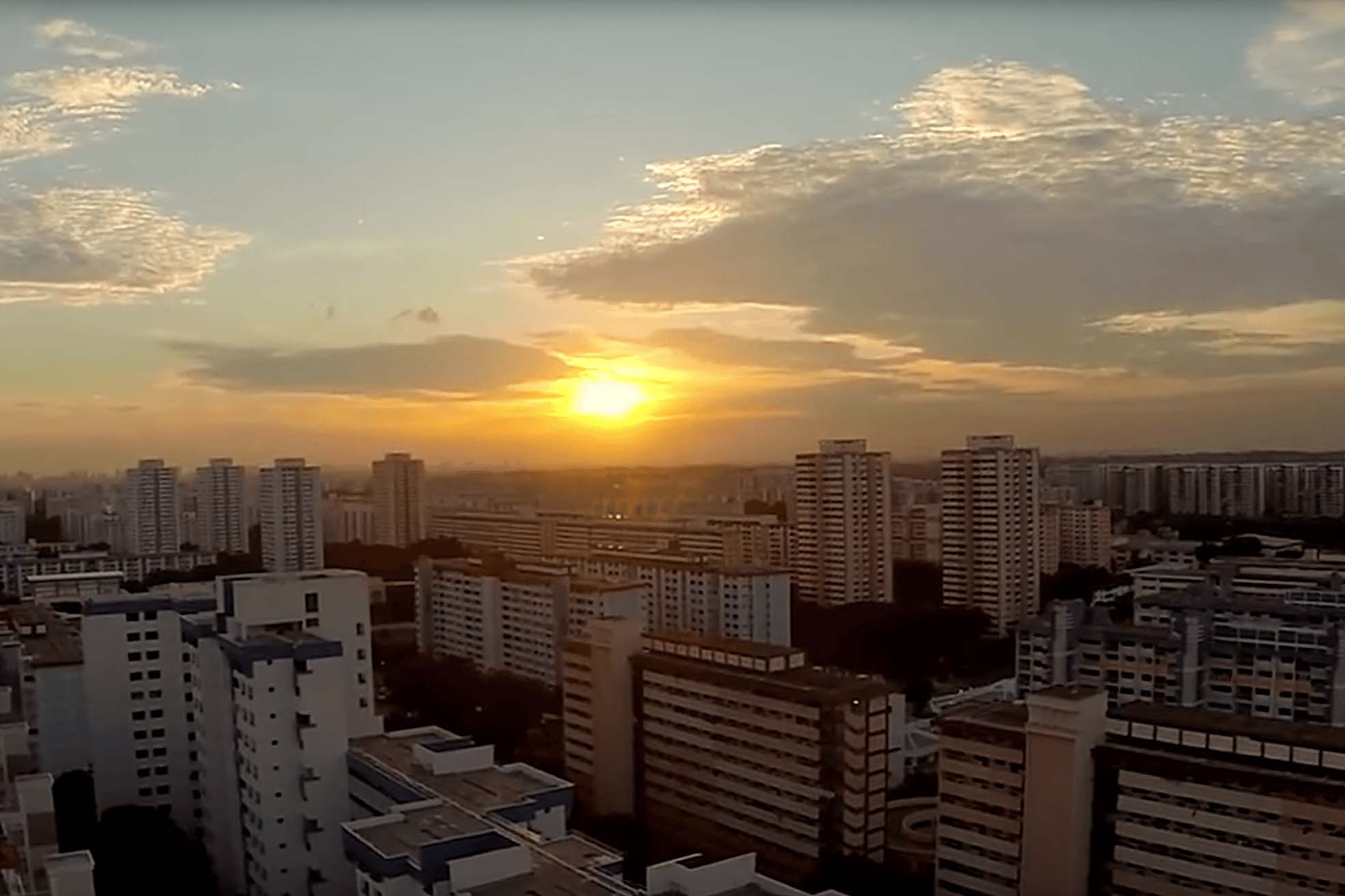 View of Singapore at sunset