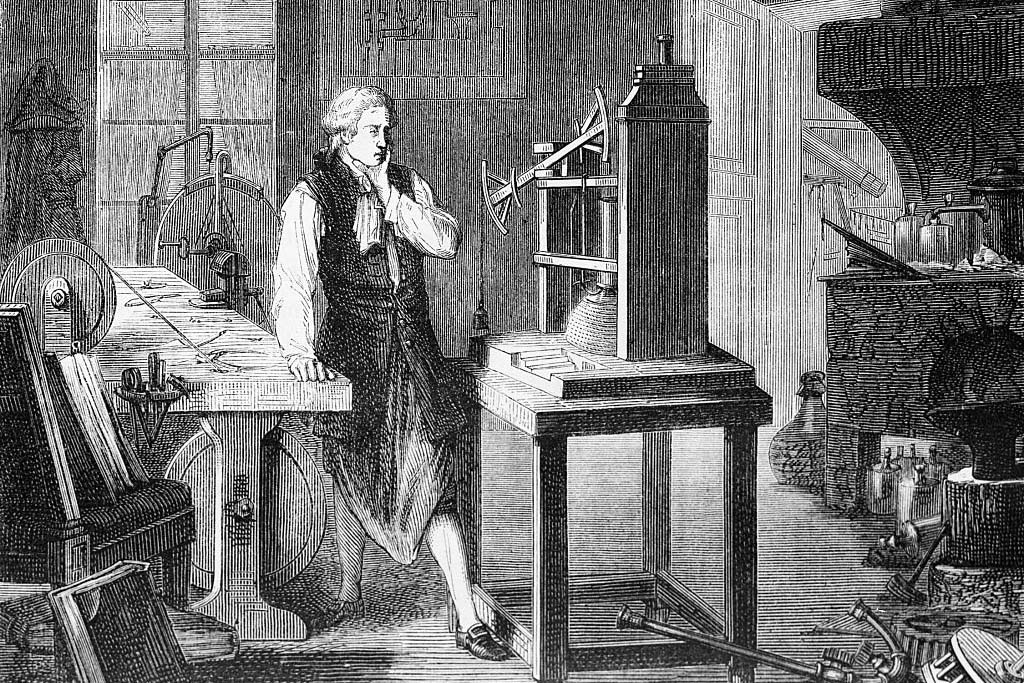 Print Depicting James Watt Studying Improvements to the Newcomen Steam Engine
