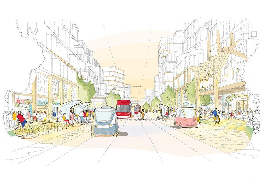 A rendering of a futuristic street.