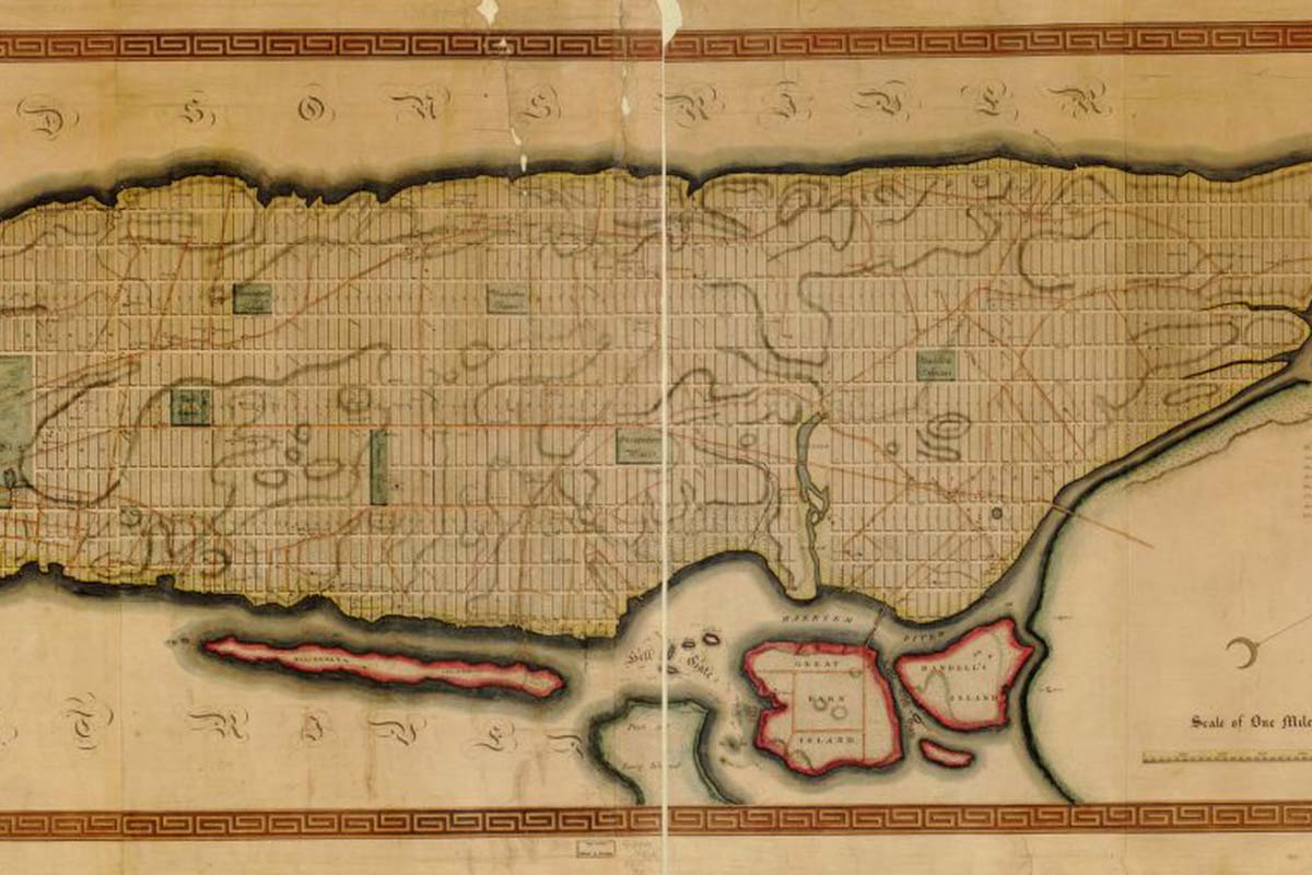 An image of the grid laid out on Manhattan in 1811