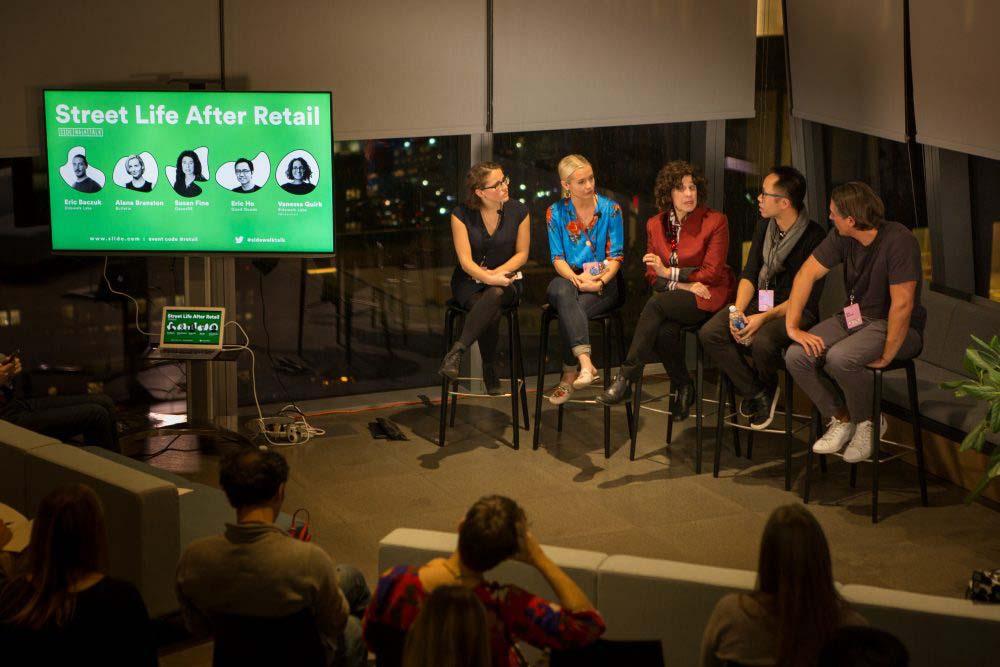 Retail panel members in conversation