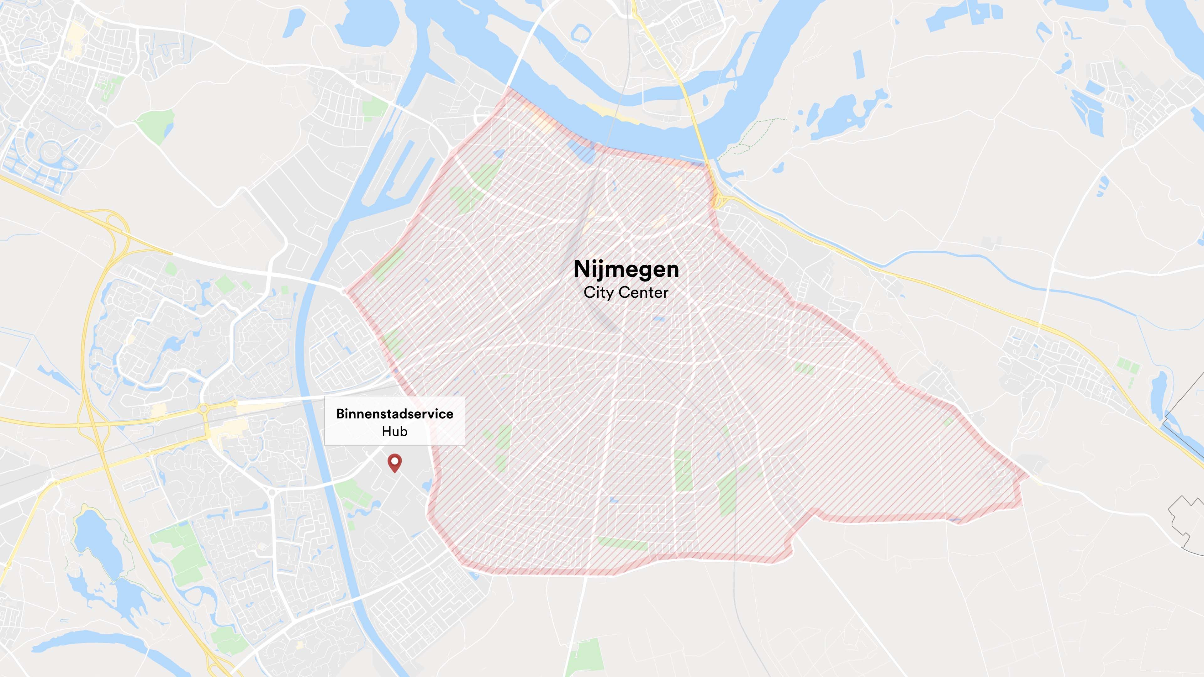 A map showing the Binnenstadservice delivery hub at the perimeter of the Nijmegen city center.