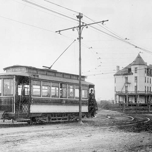 An old electric trolley in Richmond, Virginia