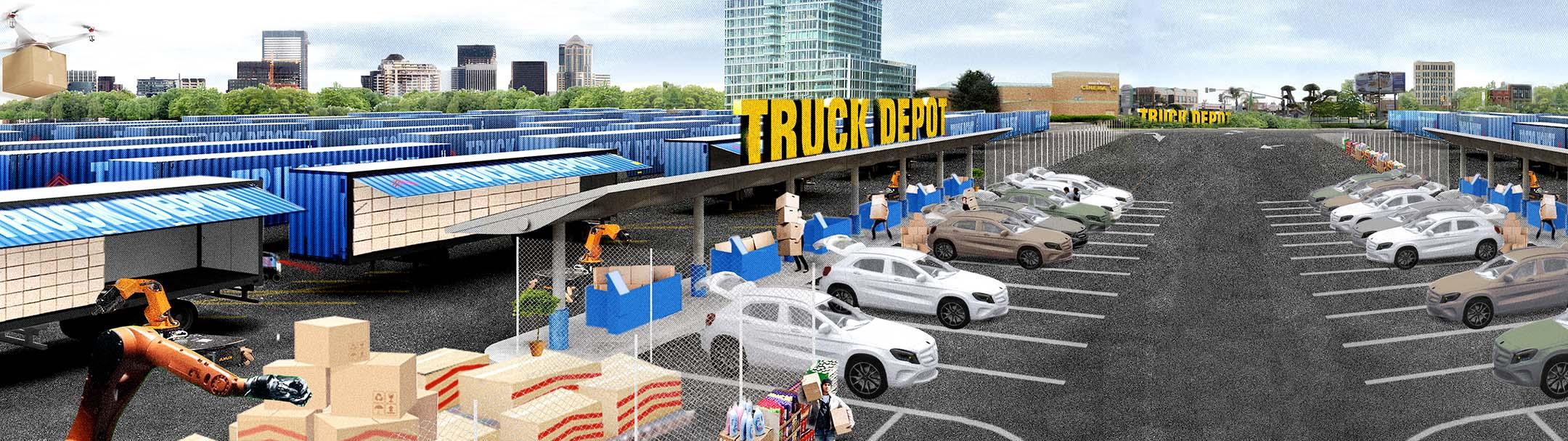 Rendering of a truck depot