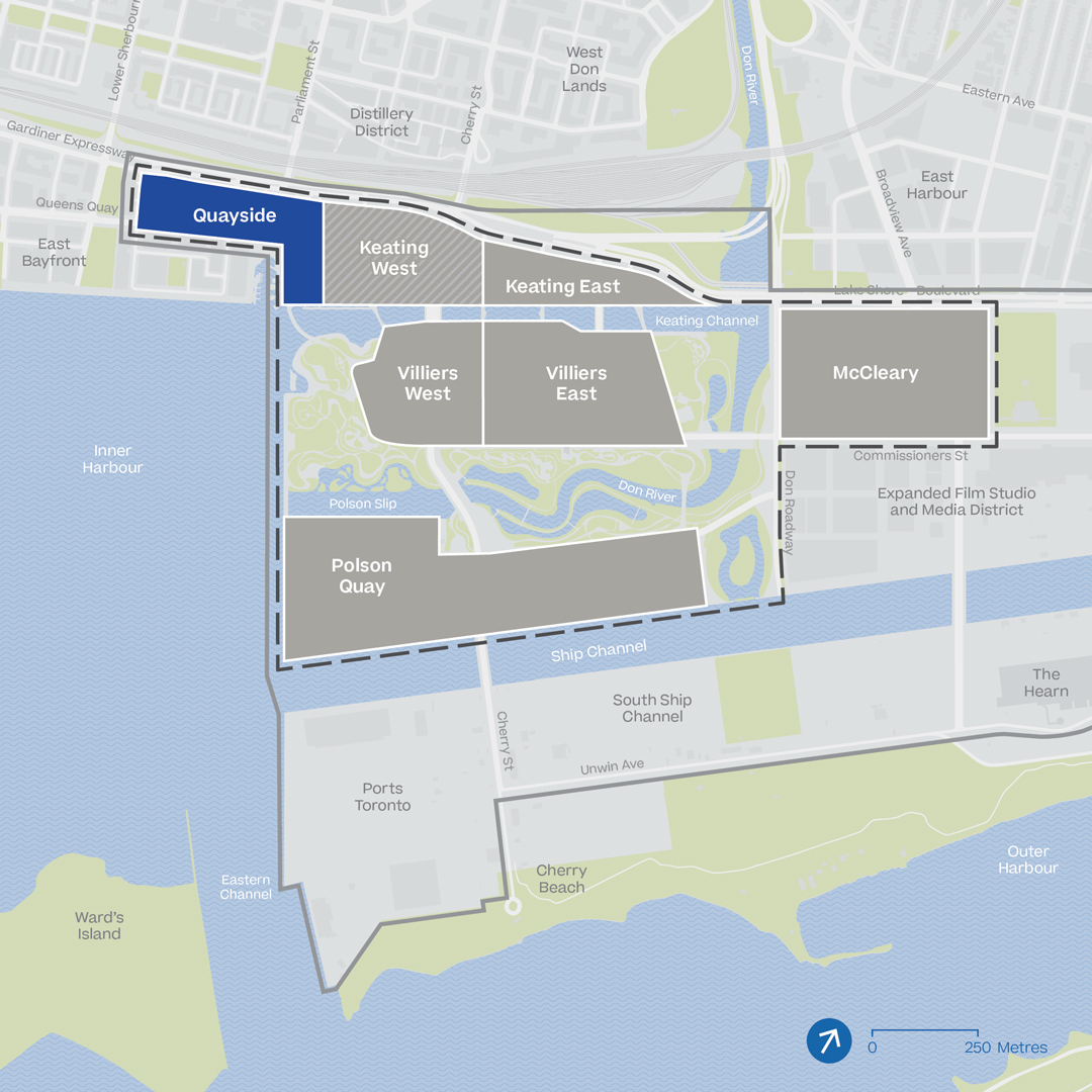 Map shows the proposed IDEA District and the Eastern Waterfront. The Quayside neighbourhood, on the northwest perimeter of the district, is blue, representing phase 1 of development.