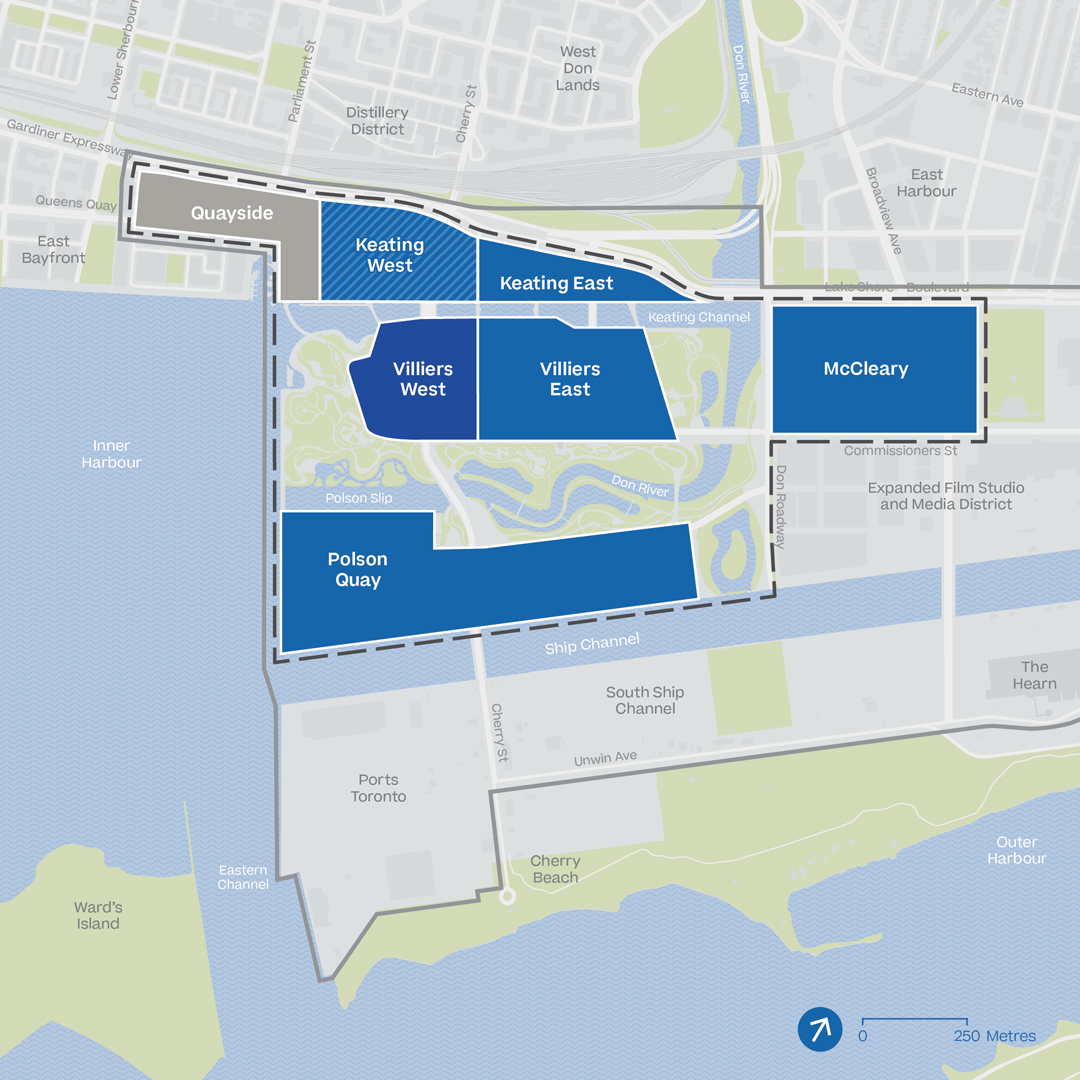 Map shows the proposed IDEA District and the Eastern Waterfront. The neighbourhoods of Keating East, Keating West (marked optional), Villiers West, Villers East, McCleary and Polson Quay are blue, representing phase 2 of the development.