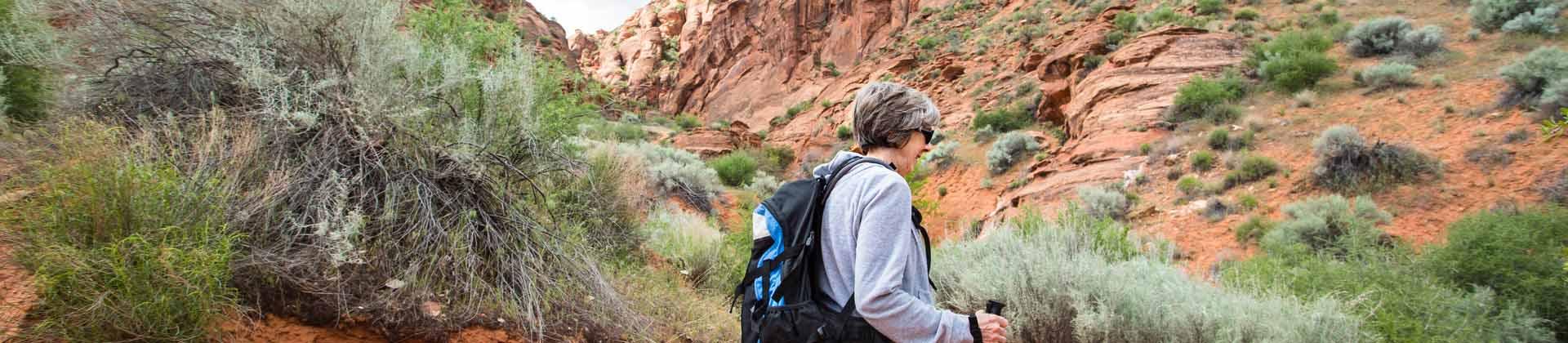 A senior woman hiking