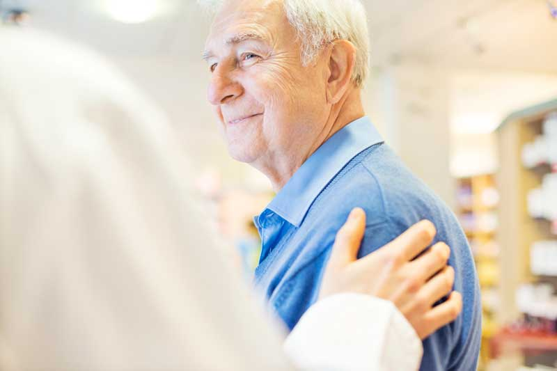 Senior man at Healthcare services at Senior Living Community