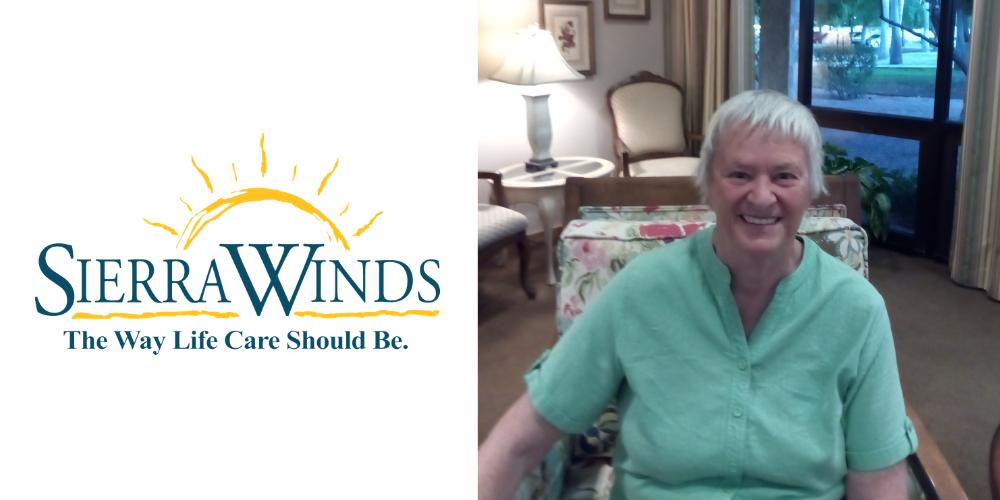 Sierra Winds logo next to resident Sandy