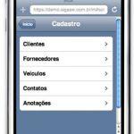 Cadastros na versão mobile