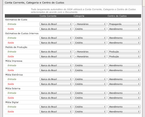 Configurações de lançamentos automáticos