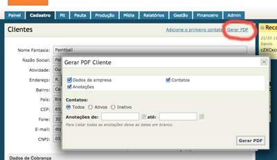 Gerar PDF do cliente
