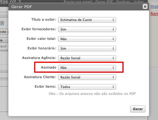 Opção de PDF assinado