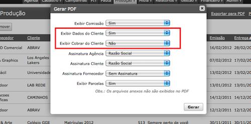 Opções de exibir dados no PDF