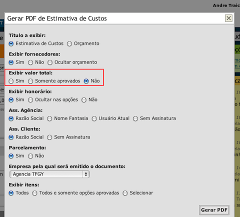 Opções do PDF da Estimativa de Custos