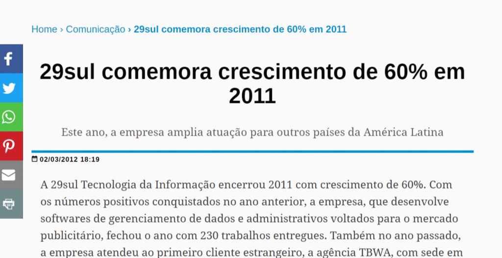 Reportagem de crescimento de 2011