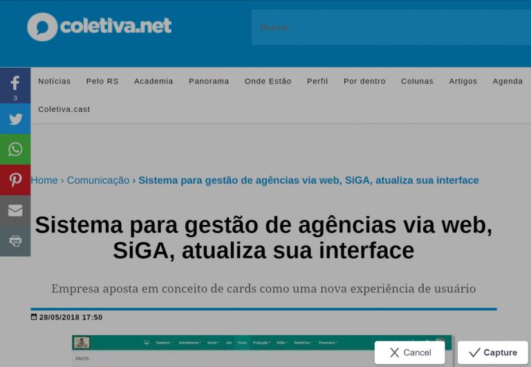 Reportagem do SiGA na Coletiva.net